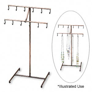 display, antique copper-finished steel, 14-1/4 x 8 x 6 inch 2-tier stand with 12 hooks. sold individually.