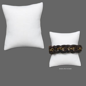 display, bracelet, flocked velvet, white, 3-1/2 x 3 x 1-3/4 inch pillow. sold per pkg of 4.