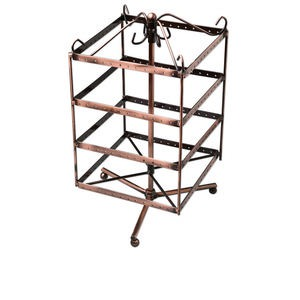 display, earring, antique copper-finished steel, 12 x 6-1/2 x 6-1/2 inches revolving square, 192 holes. sold individually.
