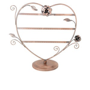display, earring, antique copper-finished steel, 16 x 14 x 6-inch heart with 3 rows, holds 34 pairs. sold individually.