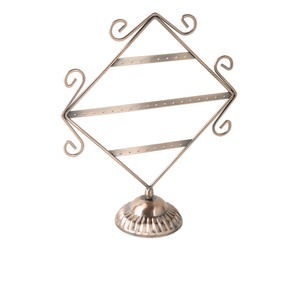 display, earring, antique copper-finished steel, 9-1/2 x 11-1/2 x 3-1/2 inch diamond with 3 rows. sold individually.