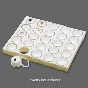 display insert, faceted gems, foam and acrylic, white and clear, 7-3/4 x 6-3/4 x 3/4 inches with (25) 1-1/4 x 3/4 inch reclosable vials, fits standard half tray. sold individually.