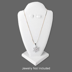 display, necklace and earring, leatherette, white, 10 x 5-1/2 x 5 inches, velcro-style tab on back. sold individually.