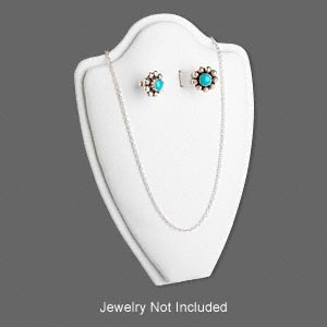 display, necklace and earring, leatherette, white, 6 x 4 x 2 inches, velcro-style tab on back with adjustable angle. sold individually.