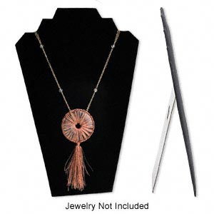 display, necklace, velvet, black, 12-1/2 x 8-1/4 x 4-3/4 inches easel. sold individually.