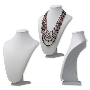 display, necklace, velveteen and steel, white, 12 x 4-1/4 x 9 inches. sold individually.