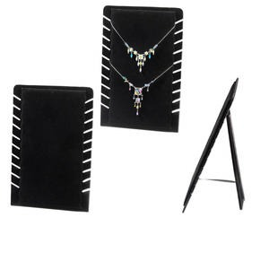 display, necklace, velveteen, black, 14x9 inches with 10 slots and velcro tab on back. sold individually.