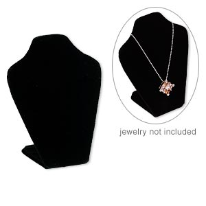 display, necklace, velveteen, black, 6 x 4 x 2-1/2 inches, velcro-style tab on back with adjustable angle. sold individually.
