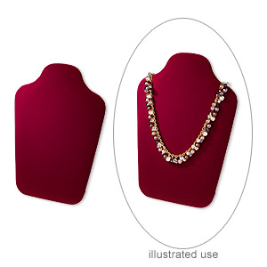 display, necklace, velveteen, burgundy, 10 x 7 x 3 inches with velcro tab on back. sold individually.