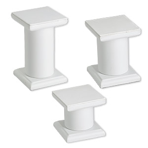 display, pedestal, leatherette, white, assorted graduated square. sold per 3-piece set.