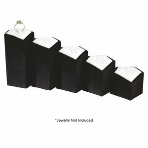 display pedestals, heights in inches are approximately 1-3/4, 2-1/2, 3, 3-1/2, 4-1/4. sold per pkg of 5 pedestals.