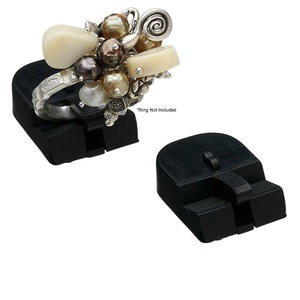 display, ring, plastic, black, 11x22x30mm. sold per pkg of 12.