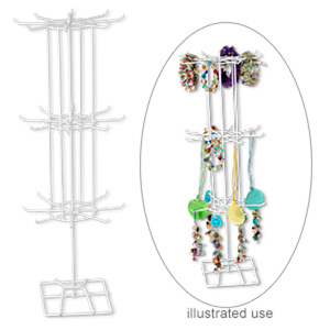 display, steel, white, 24-1/2 x 8-3/4 x 8-3/4 inch revolving with 24 hooks. sold per pkg of 6.