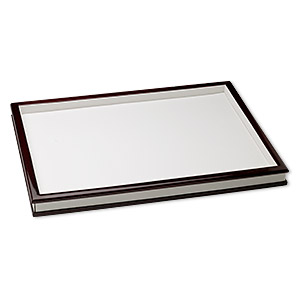 display tray cover, fiber board and leatherette, white and mahogany, 12-1/2 x 9 x 1 inches. sold individually.