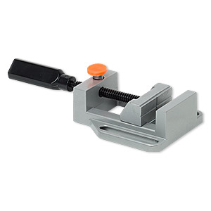 drill press vise, aluminum, black and orange, 9-1/2 x 4-1/2 inches with 2-3/4 inch jaw length. sold individually.