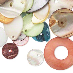 drop / link / button mix, mother-of-pearl shell (natural / dyed / bleached), mixed colors, 10x10mm-34x28mm mixed shape, mohs hardness 3-1/2. sold per 1-ounce pkg, approximately 40 pieces.