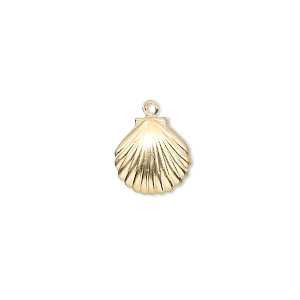 drop, 14kt gold-filled, 11x10mm clam shell. sold per pkg of 2.