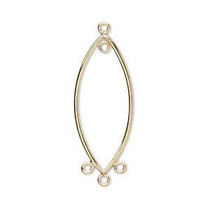 drop, 14kt gold-filled, 29x12mm oval with 4 loops. sold per pkg of 2.