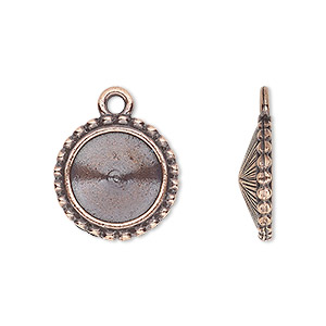 drop, almost instant jewelry and tierracast, antique copper-plated pewter (tin-based alloy), 17mm round with beaded edge and 12mm rivoli setting. sold individually.