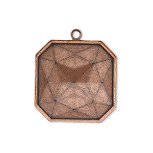drop, almost instant jewelry, antique copper-plated brass, 25x25mm square with 23x23mm square setting. sold per pkg of 2.