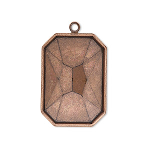drop, almost instant jewelry, antique copper-plated brass, 29x21mm rectangle with 27x18.5mm emerald-cut setting. sold per pkg of 2.