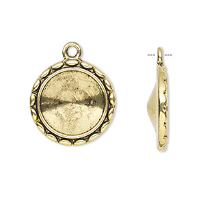 drop, almost instant jewelry, antique gold-finished pewter (zinc-based alloy), 19mm round with rope design and 14mm rivoli setting. sold per pkg of 6.
