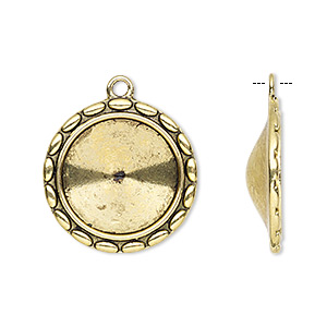 drop, almost instant jewelry, antique gold-finished pewter (zinc-based alloy), 24mm round with rope design and 18mm rivoli setting. sold per pkg of 6.