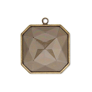 drop, almost instant jewelry, antique gold-plated brass, 25x25mm square with 23x23mm square setting. sold per pkg of 2.