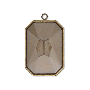 drop, almost instant jewelry, antique gold-plated brass, 29x21mm rectangle with 27x18.5mm emerald-cut setting. sold per pkg of 2.