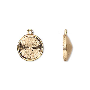 drop, almost instant jewelry, antique gold-plated pewter (tin-based alloy), 14mm round with 12mm rivoli setting. sold individually.