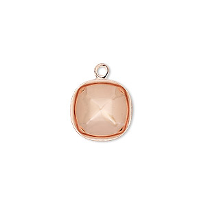 drop, almost instant jewelry, copper-plated brass, 14mm rounded square with 12mm cushion setting. sold per pkg of 4.