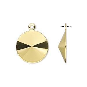 drop, almost instant jewelry, gold-finished brass, 17mm round with 16mm rivoli setting. sold per pkg of 10.