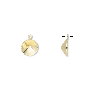 drop, almost instant jewelry, gold-finished brass, 8.5mm with ss39 rivoli setting. sold per pkg of 10.