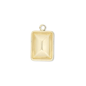 drop, almost instant jewelry, gold-plated brass, 16.5x12.5mm faceted rectangle with 14x10mm rectangle setting. sold per pkg of 4.