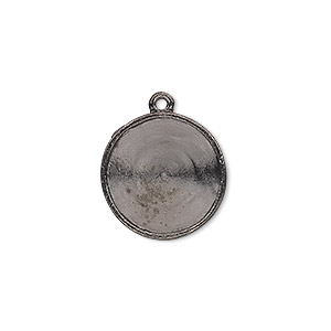 drop, almost instant jewelry, gunmetal-plated pewter (tin-based alloy), 18mm round with 16mm rivoli setting. sold individually.