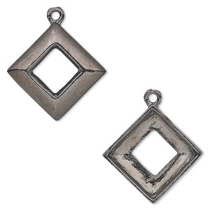 drop, almost instant jewelry, gunmetal-plated pewter (tin-based alloy), 22x22mm open diamond with 14x14mm square ring setting. sold individually.