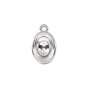 drop, almost instant jewelry, silver-plated pewter (zinc-based alloy), 16x12mm oval with 14x10mm oval setting. sold per pkg of 2.