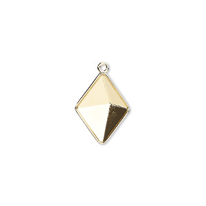 drop, almost instant jewelry, swarovski crystals, gold-plated brass, 16x12mm with 14x10.5mm tilted spike setting (4929/c). sold per pkg of 48.
