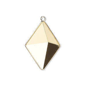 drop, almost instant jewelry, swarovski crystals, gold-plated brass, 25.5x18mm with 24x17mm tilted spike setting (4928/c). sold per pkg of 15.