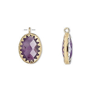 drop, amethyst (natural) and gold-finished sterling silver, 15x11mm double-sided faceted oval. sold individually.