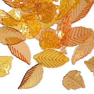 drop and focal mix, acrylic, transparent yellow / orange / brown, 24x22mm double-sided round leaf / 36x19mm double-sided folded leaf / 40x14mm double-sided curved leaf. sold per 1/8 pound pkg, approximately 80 pieces.