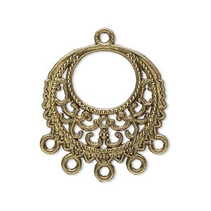 drop, antique brass-plated pewter (zinc-based alloy), 25mm single-sided filigree round, 5 loops. sold per pkg of 20.