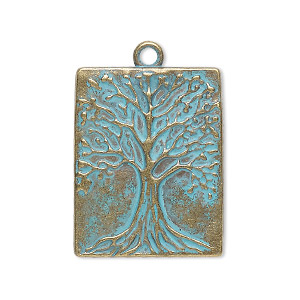 drop, antique copper-finished pewter (zinc-based alloy), green patina, 28x22mm single-sided rectangle with tree of life. sold per pkg of 2.
