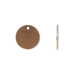 drop, antique copper-plated brass, 15mm flat round. sold per pkg of 100.