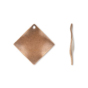 drop, antique copper-plated steel, 20x20mm wavy diamond. sold per pkg of 10.