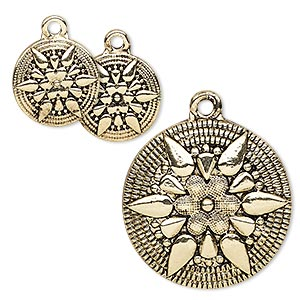drop, antique gold-finished pewter (zinc-based alloy), 13mm and 25mm flat round with star and flower design. sold per 3-piece set.