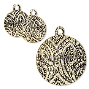 drop, antique gold-finished pewter (zinc-based alloy), 13mm and 25mm flat round with paisley design. sold per 3-piece set.