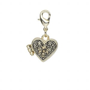 drop, antique gold-finished pewter (zinc-based alloy), 15x13mm heart prayer box with flower design and magnetic closure with lobster claw clasp. sold individually.