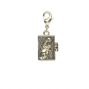 drop, antique gold-finished pewter (zinc-based alloy), 18x12mm rectangular prayer box with angel design and magnetic closure with lobster claw clasp. sold individually.