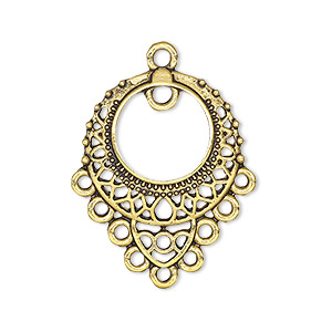 drop, antique gold-finished pewter (zinc-based alloy), 26x23mm single-sided filigree with 9 loops and pp12 setting. sold per pkg of 10.